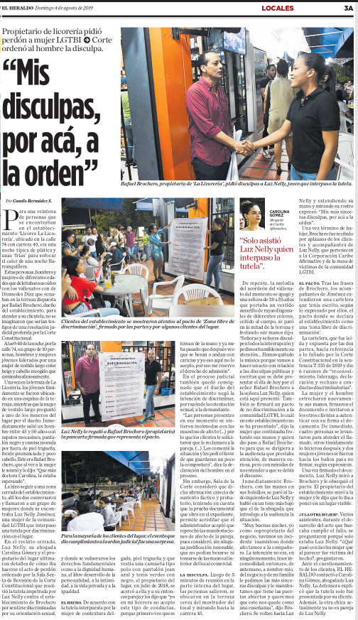 The handshake staged, according to court order, to try to bring reconciliation between a liquor-store owner in Barranquilla, a patron, and the city's LGBTI community. © 2019 EL HERALDO S.A.